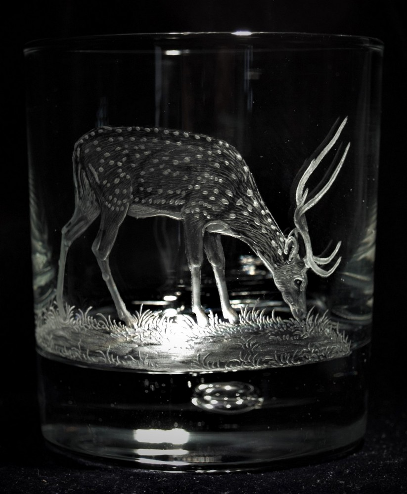 Crystal Glass Tumbler with Chital Deer