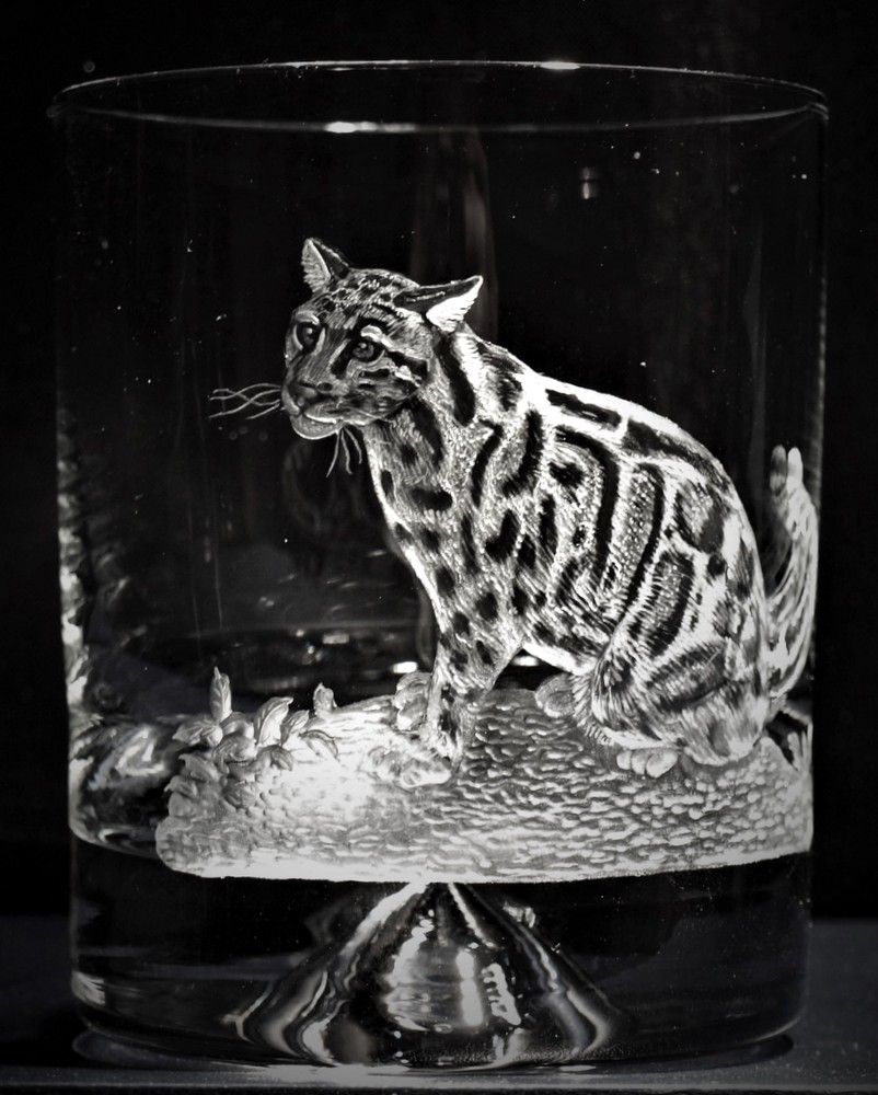 Crystal Glass Tumbler with Clouded Leopard