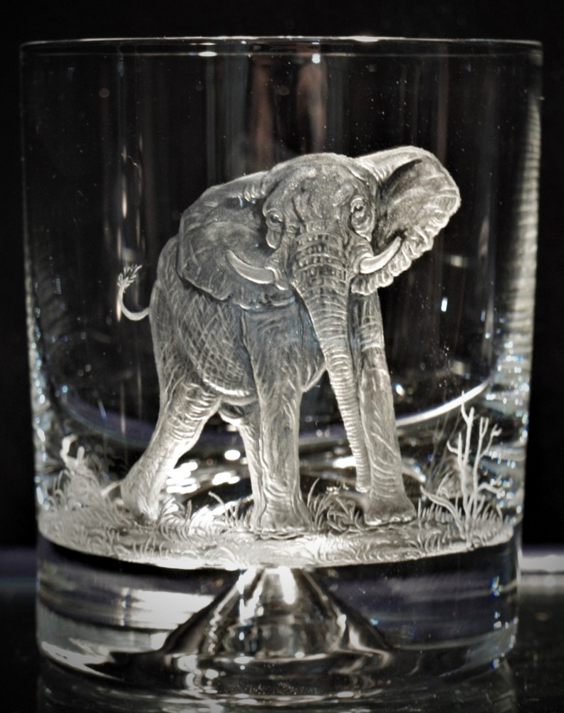Crystal Glass Tumbler with Elephant