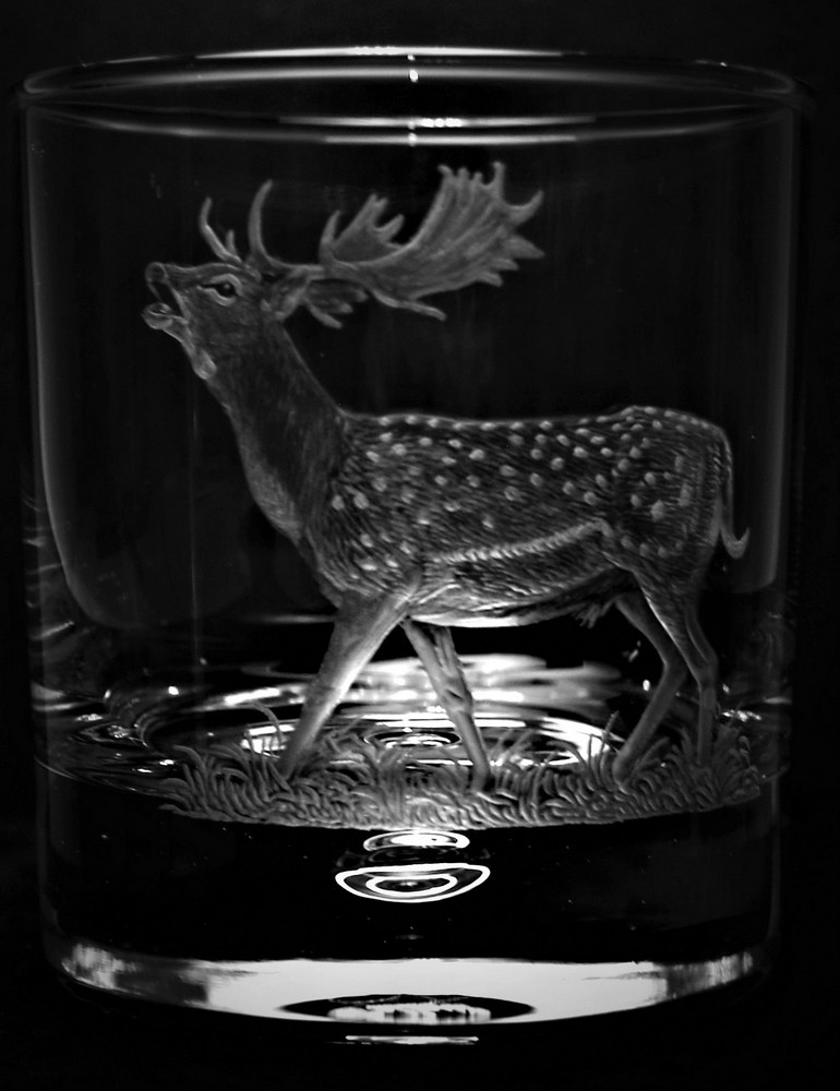 Crystal Glass Tumbler with Fallow Deer