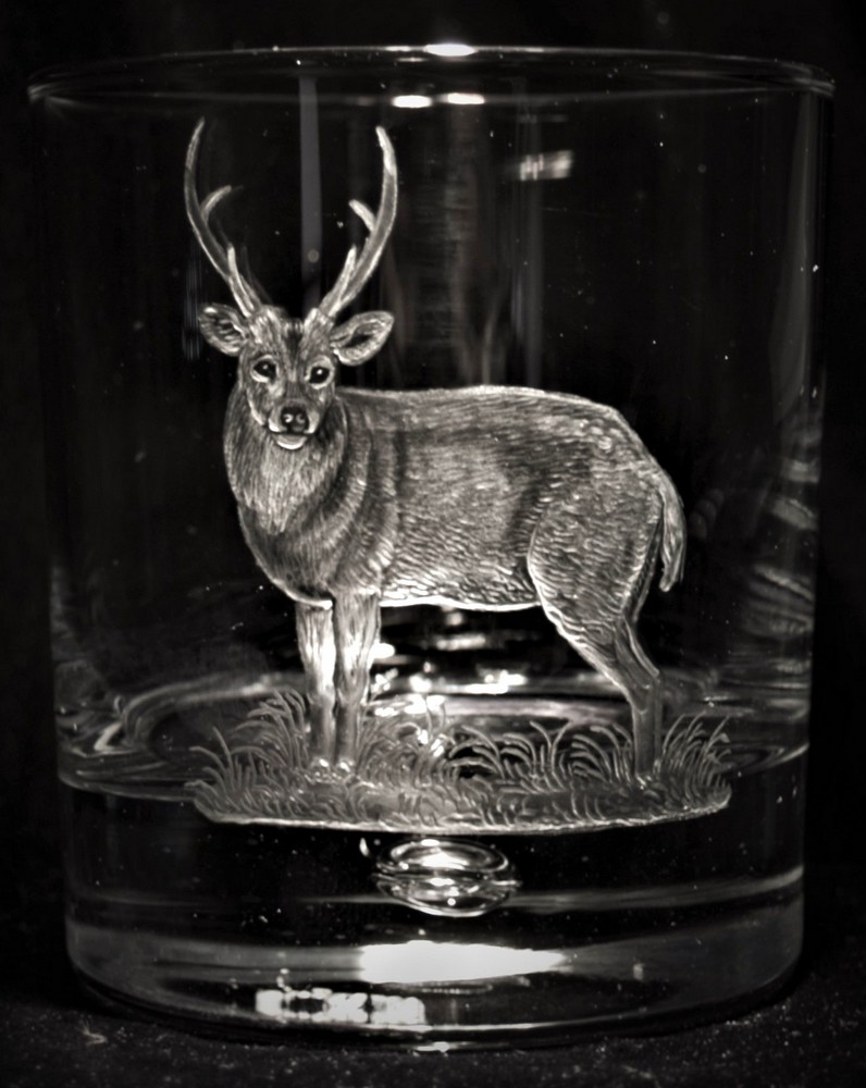 Crystal Glass Tumbler with Hog Deer