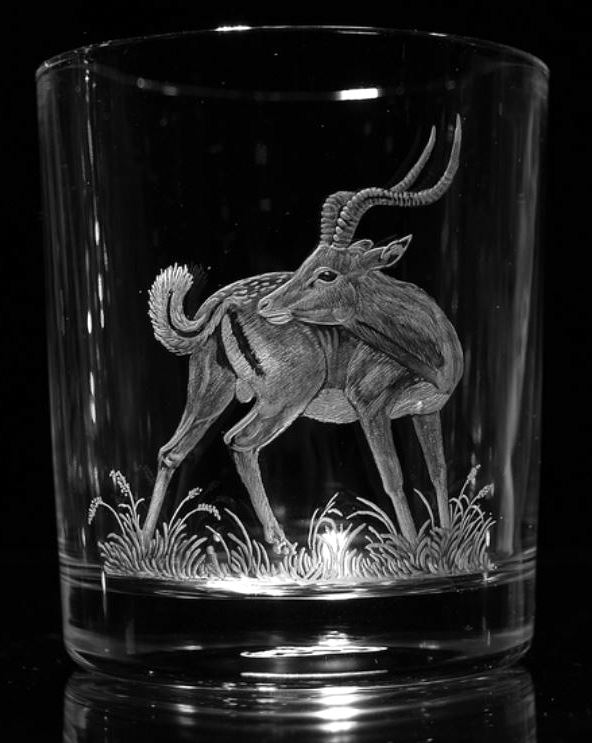Crystal Glass Tumbler with Impala
