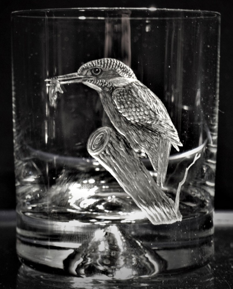 Crystal Glass Tumbler with Kingfisher