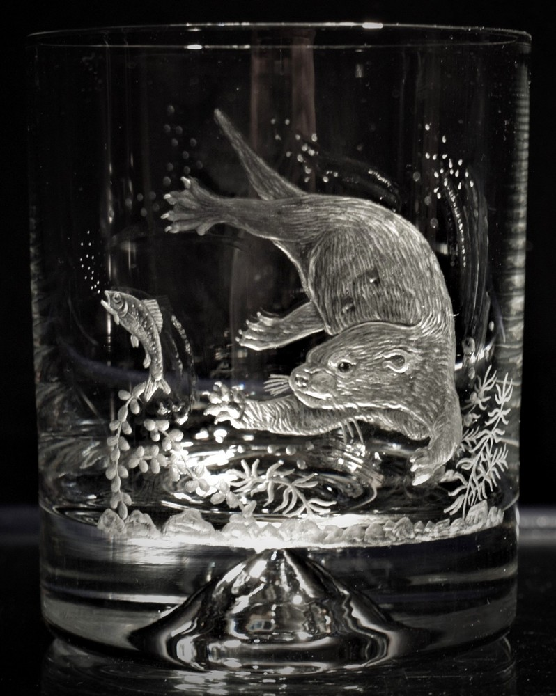 Crystal Glass Tumbler with Otter
