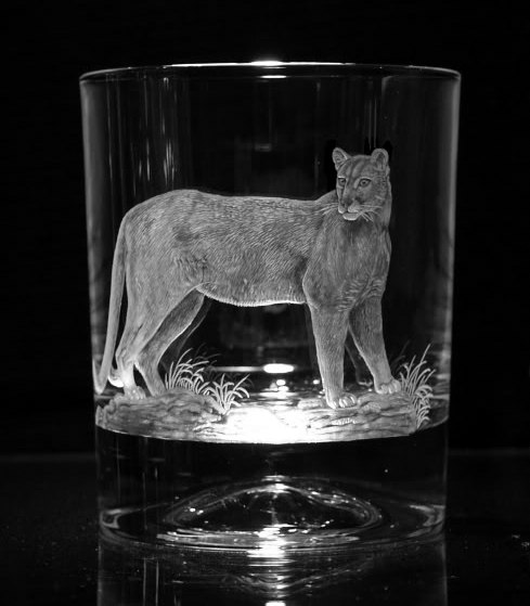 Crystal Glass Tumblers with Puma