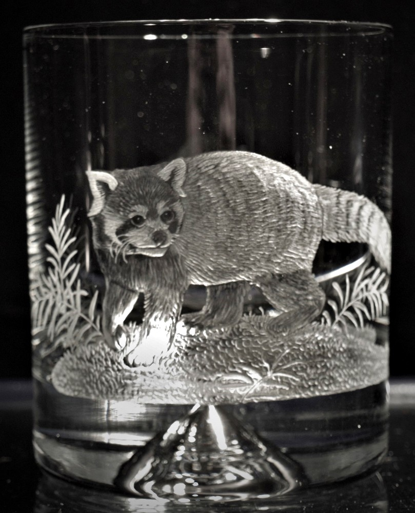 Crystal Glass Tumbler with Red Panda