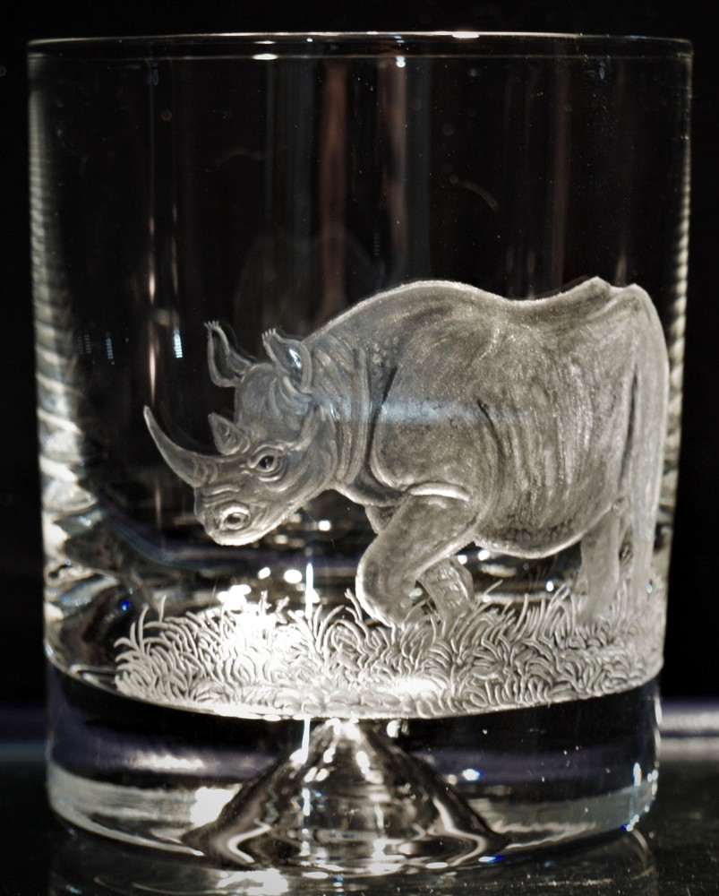Crystal Glass Tumbler with Rhino