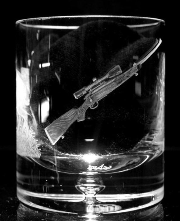 Crystal Glass Tumbler with Rifle
