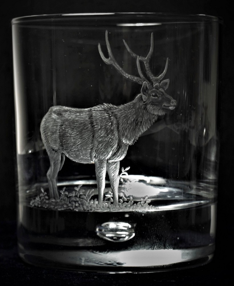 Crystal Glass Tumbler with Sambar Deer