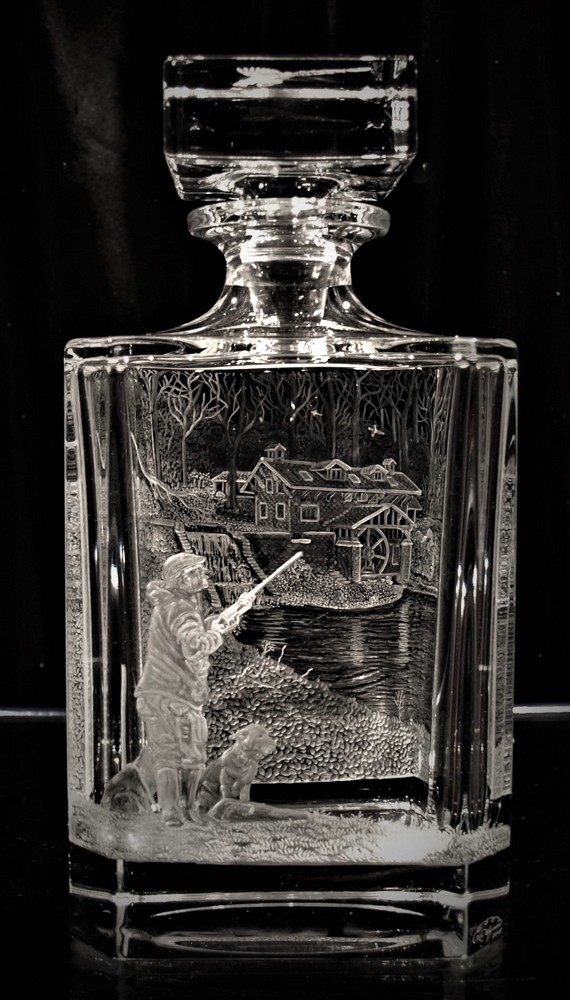 Crystal Decanter with Wing-Shooting Scene