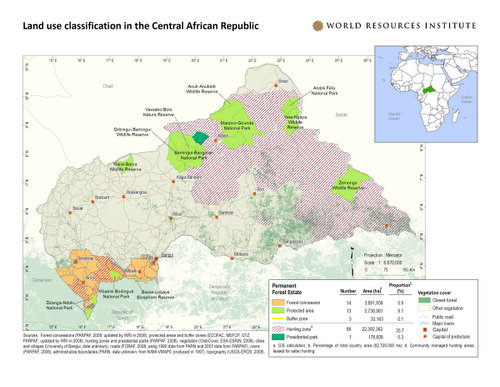 Central African Republic Hunting Areas