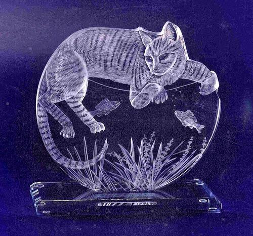 Crystal Glass Cat Portrait