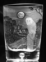 Crystal Vase with Owl