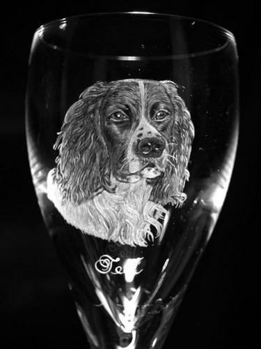 Crystal Wine Glass with Spaniel