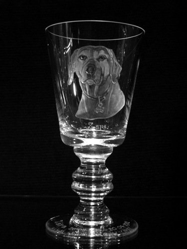 Crystal Wine Glass with Dog