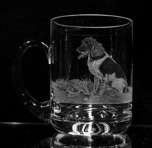 Crystal Glass Beer Mug with Spaniel