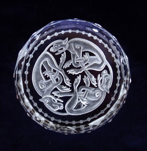 Crystal Glass Paperweight with Celtic Running Dog Design
