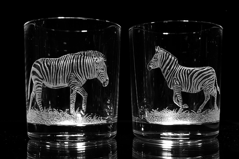 Crystal Glass Tumblers with Zebra