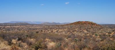 The terrain of northern Namibia with Mount Etjo in the distance.